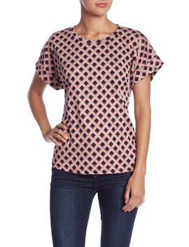 Short Sleeve Scoop Neck Tie Front Blouse by Emelia
