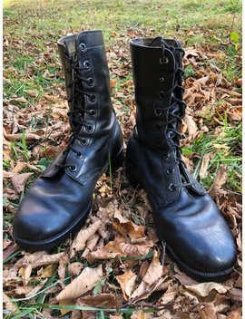 Vintage 1970's Ro Search Men's Military Combat Boots Black Leather Smooth Toe Size 9 W  Made In The Usa by Etsy