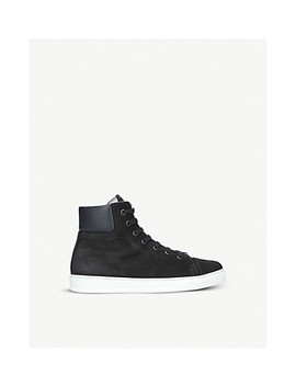 Cuffed Leather High Top Trainers by Lanvin