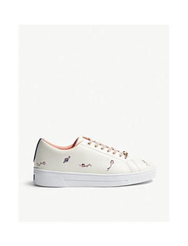 Noana Swimmers Embroidered Leather Trainers by Ted Baker