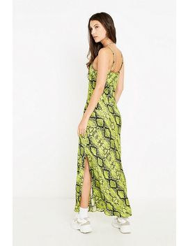 Uo Lime Green Snake Print Slip Dress by Urban Outfitters