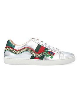 New Ace Dragon Embellished Leather Trainers by Gucci