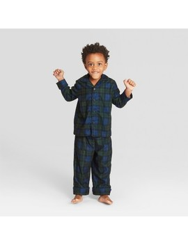 Toddler Plaid Holiday Notch Collar Pajama Set   Wondershop™ Navy by Shop This Collection