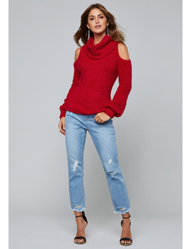 Cold Shoulder Cowl Sweater by Bebe