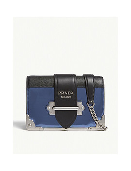 Cahier Small Metallic Leather Shoulder Bag by Prada