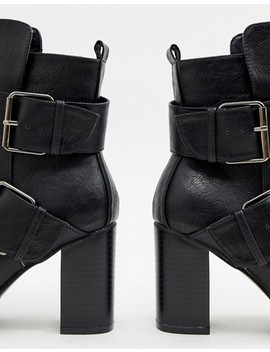Glamorous Black Pointed Heeled Ankle Boots With Buckles by Glamorous