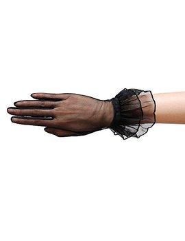 Za Za Bridal Gorgeous Sheer Gloves With Double Ruffle Tricot Slip On Wrist Length 2 Bl by Za Za Bridal