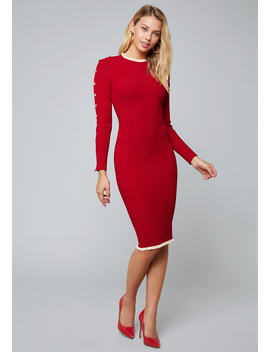 Ruffle Trim Sweater Dress by Bebe
