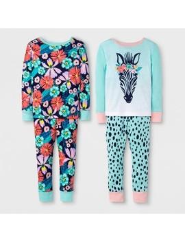 Toddler Girls' Zebra 4pc Pajama Set   Cat & Jack™ Mint by Cat & Jack