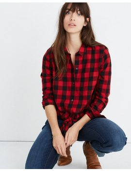 Flannel Tie Front Shirt In Buffalo Check by Madewell