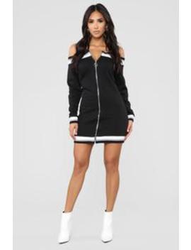 Don't Get Me Wrong Off Shoulder Tunic   Black by Fashion Nova