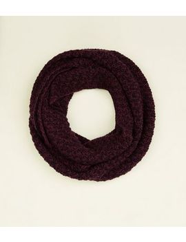 Burgundy Chevron Loop Knit Snood by New Look