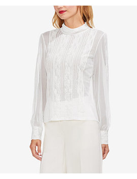 Mock Neck Mesh & Lace Blouse by Vince Camuto
