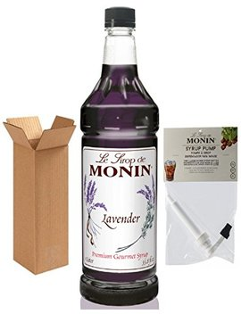 Monin Lavender Syrup, 33.8 Ounce Plastic Bottle (1 Liter) With Monin Pump, Boxed. by Monin