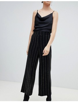 Monki Glitter Stripe Wide Leg Trousers In Black by Monki