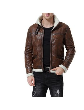 Aowofs Men's Faux Leather Jacket Brown Motorcycle Bomber Shearling Suede Stand Collar by Aowofs