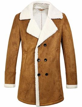 Sslr Men's Winter Double Breasted Shearling Lined Long Suede Jacket by Sslr