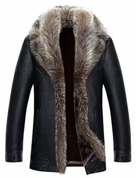Jinmen Mens Sheepskin Leather Winter Jacket Fur Coat Warm Raccoon Parka Outwear by Jinmen