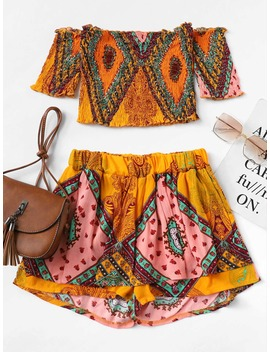 Off Shoulder Random Print Top With Shorts by Romwe
