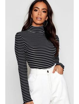 Turtle Neck Stripe Long Sleeve Top by Boohoo