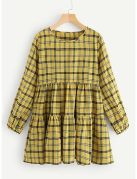 Plaid Ruched Dress by Romwe