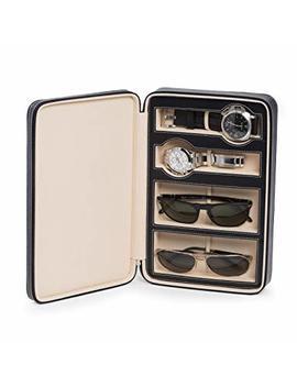 Bey Berk Black Leather Two Watch And Two Eyeglasses Holder Storage Travel Case by Bey Berk