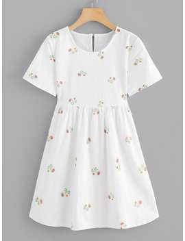Floral Embroidered Keyhole Back Dress by Romwe