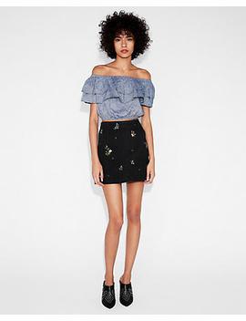 High Waisted Slim Floral Denim Mini Skirt by Express