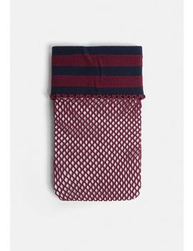 Burgundy Sports Stripe Fishnet Socks by Missguided