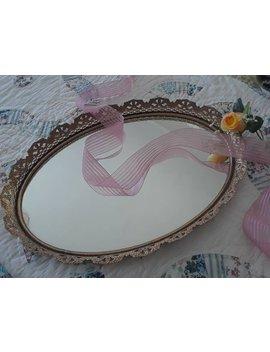 V Intage, Large, Brass, Flower, Filigree, Oval Mirror Tray, Vintage Vanity Tray, Vintage Glam Mirror Tray, Mirror Tray, Glam Tray by Etsy