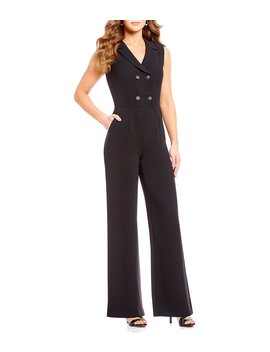Notch Collar Double Breasted Sleeveless Jumpsuit by Tahari Asl