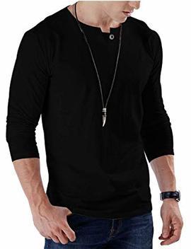 Jnc Men's Casual Slim Fit Pure Color Long/Short Sleeve Henley Fashion T Shirts Cotton Shirts by Jnc