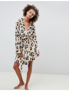 Asos Design Leopard Super Soft Robe With Ears by Asos Design