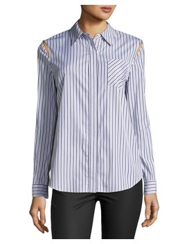 Cassie Button Front Striped Shirting Top by Neiman Marcus
