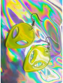 Light Yellow Green Acrylic Alien Head Earrings, Handmade Dangle Hook Earring by Etsy