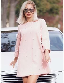 Pearl Embellished Tunic Dress by Romwe