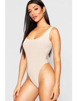Square Neck Cami Thong Bodysuit by Boohoo