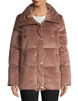 Quilted Velvet Puffer Jacket by Cole Haan Signature