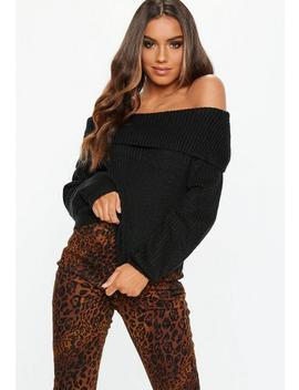 Black Bardot Knitted Jumper by Missguided