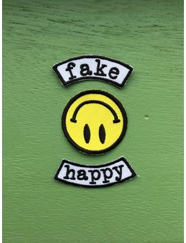 Fake Happy Iron On Patch / Feminist Embroidery / Smash The Patriarchy / Paramore by Etsy
