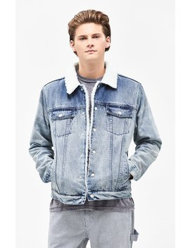 Pac Sun Classic Oversized Sherpa Denim Trucker Jacket by Pacsun