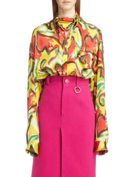 Couture Floral Print Satin Crépon Shirt by Balenciaga