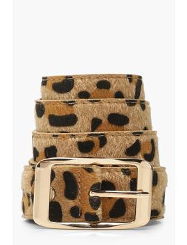Leopard Belt With Gold Buckle by Boohoo