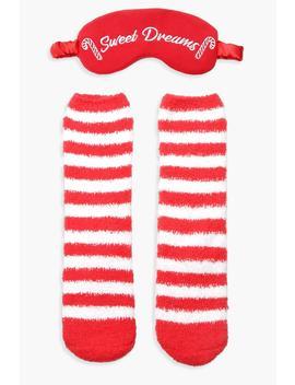 Candy Cane Fluffy Be Socks Eyemask Set by Boohoo