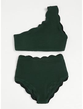 Scalloped Trim One Shoulder High Waist Bikini Set by Romwe