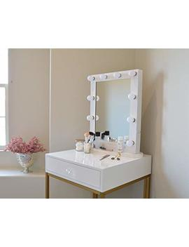Glam Station Makeup Vanity | Table With Mirror And Led Lights | Gloss White And Gold by Glam Station