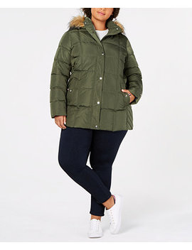 Plus Size Faux Fur Trim Hooded Puffer Coat by Tommy Hilfiger
