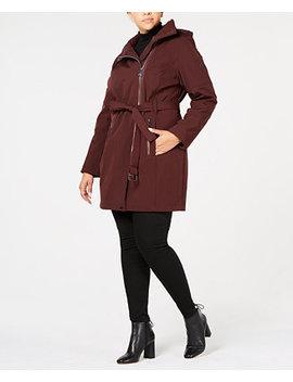 Plus Size Asymmetrical Hooded Raincoat by Calvin Klein
