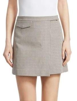 Wool Blend Plaid Mini Wrap Skirt by Theory