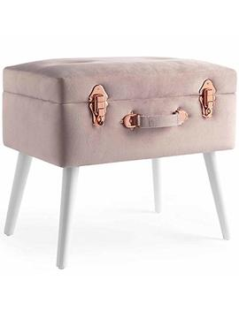 Beautify Pink Velvet Storage Trunk Footrest Stool Ottoman Storage Footstool Pouffe With Rose Gold Details by Beautify